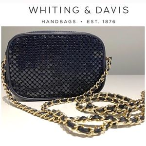 Whiting & Davis Black Chainmail Crossbody Handbag